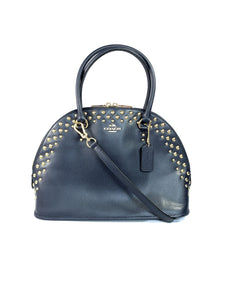 Coach navy leather studded domed satchel