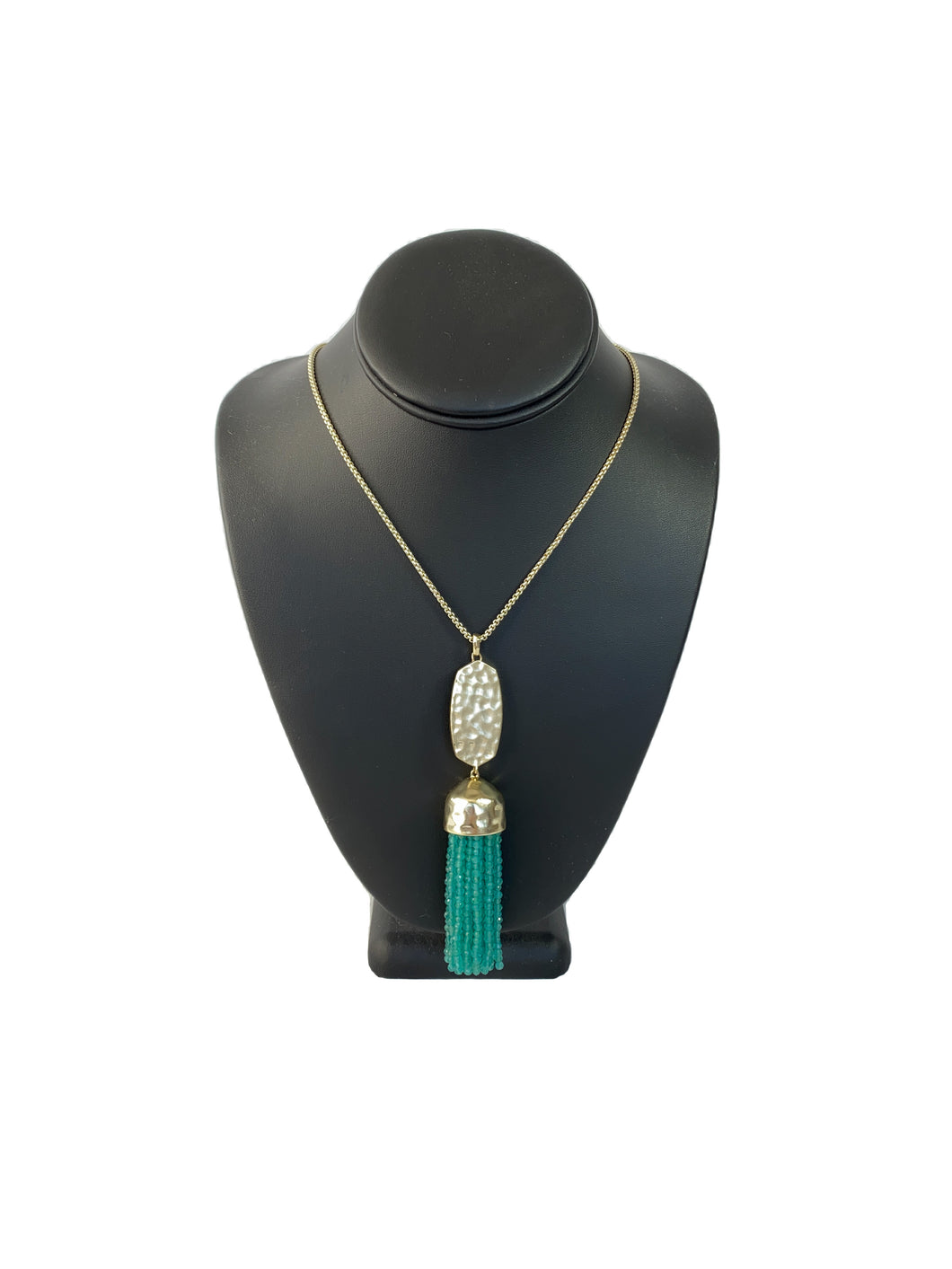 Kendra Scott Eva gold and teal tassel lariat necklace