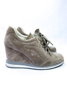Prada gray suede wedge sneakers size 39 1/2 - My Girlfriend's Wardrobe York Pa