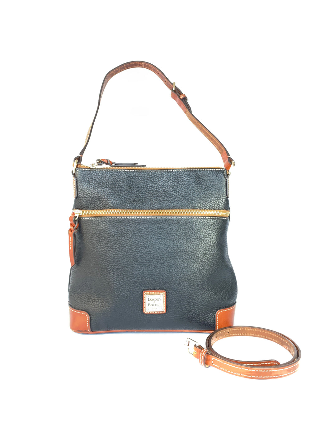 Dooney & Bourke black and brown leather convertible bag - My Girlfriend's Wardrobe LLC