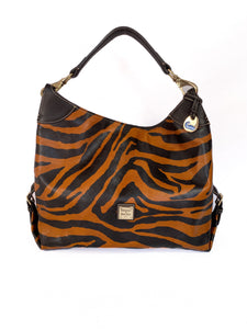 Dooney & Bourke brown and black leather shoulder bag - My Girlfriend's Wardrobe LLC