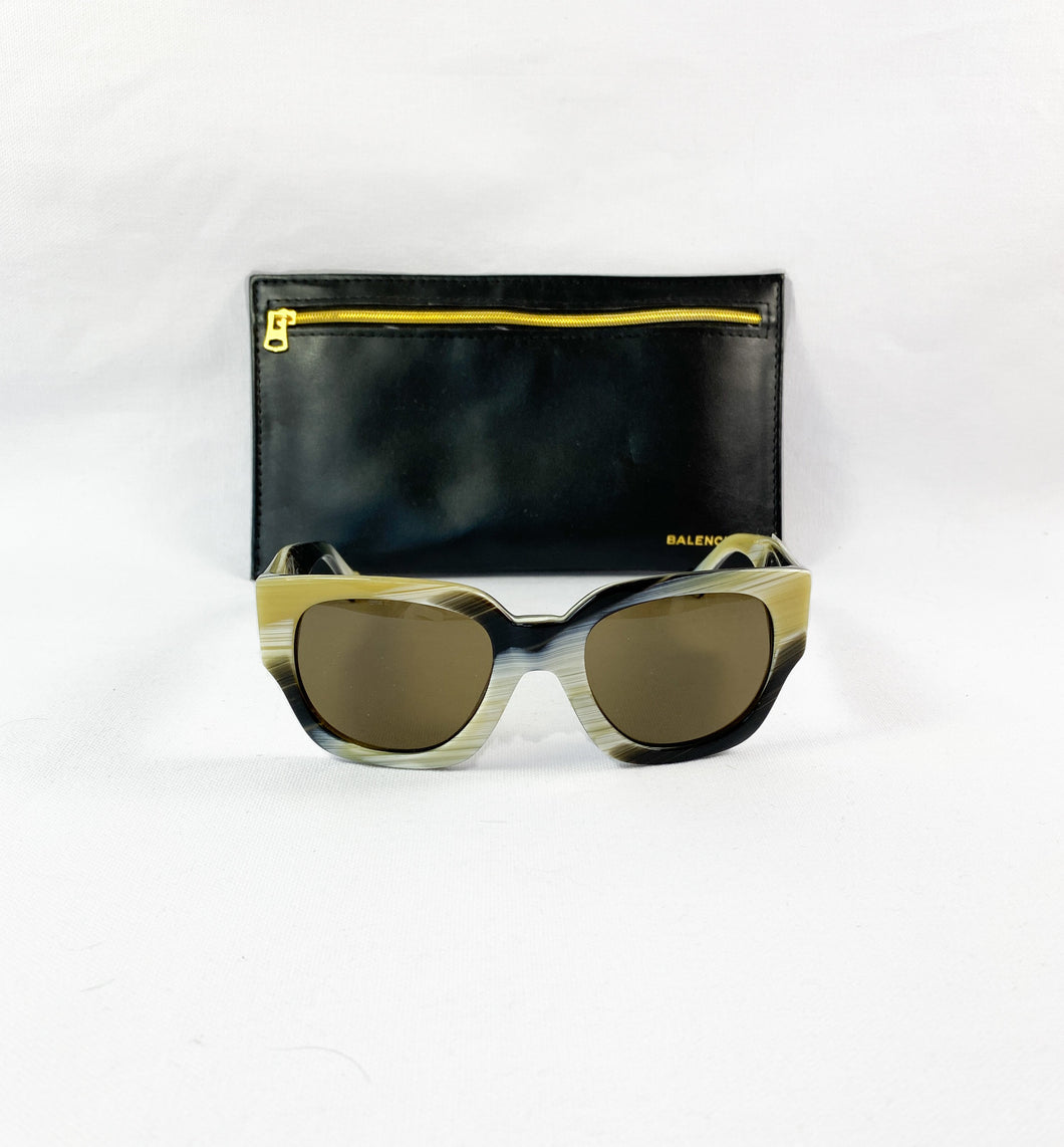 Balenciaga black and yellow sunglasses BA0011 - My Girlfriend's Wardrobe LLC