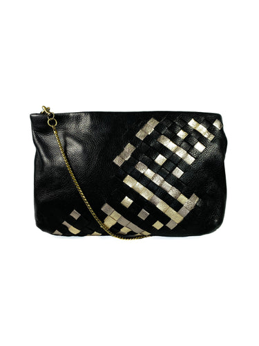 Elliott Lucca black leather woven clutch/crossbody - My Girlfriend's Wardrobe LLC