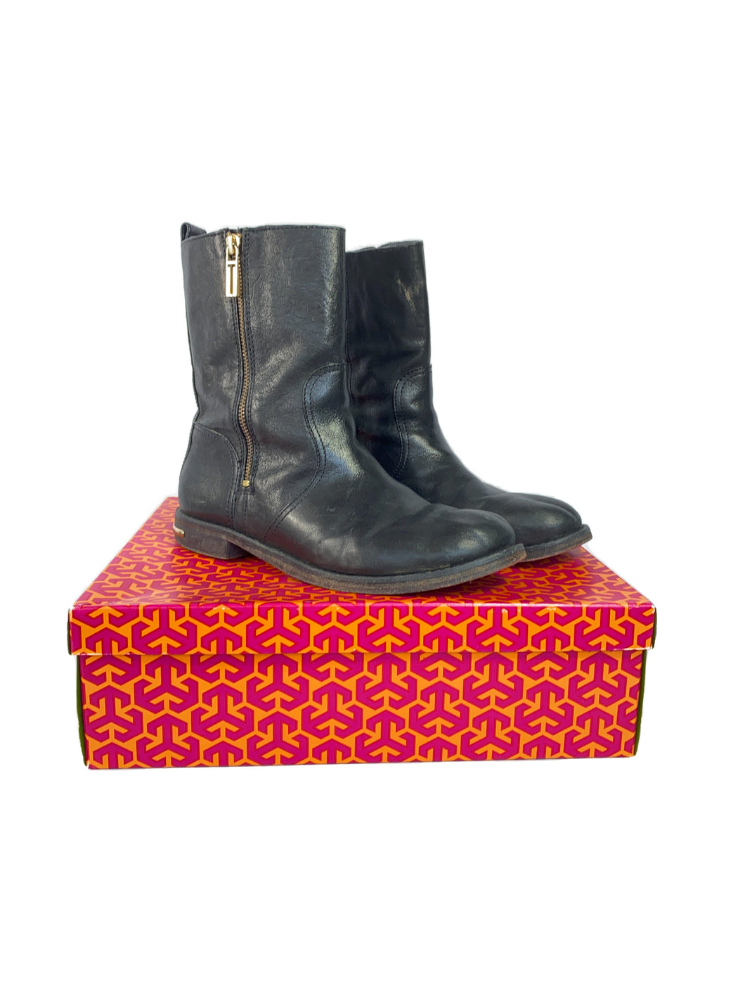 Tory Burch black leather boots size 9.5 BOX