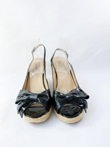 Valentino black patent bow espadrille wedges size 41 - My Girlfriend's Wardrobe York Pa