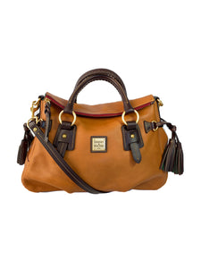 Dooney & Bourke brown and tan leather Florentine Stanwich satchel