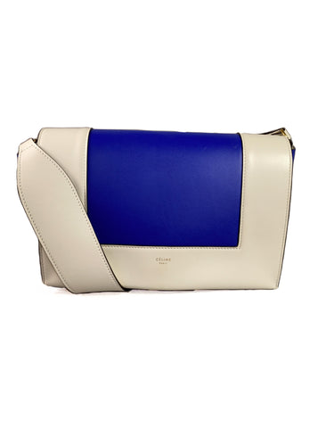 Celine royal blue white calfskin Frame bag