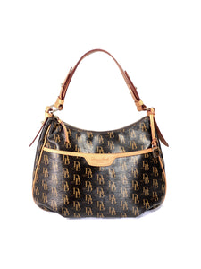 Dooney & Bourke black brown signature shoulder bag - My Girlfriend's Wardrobe LLC
