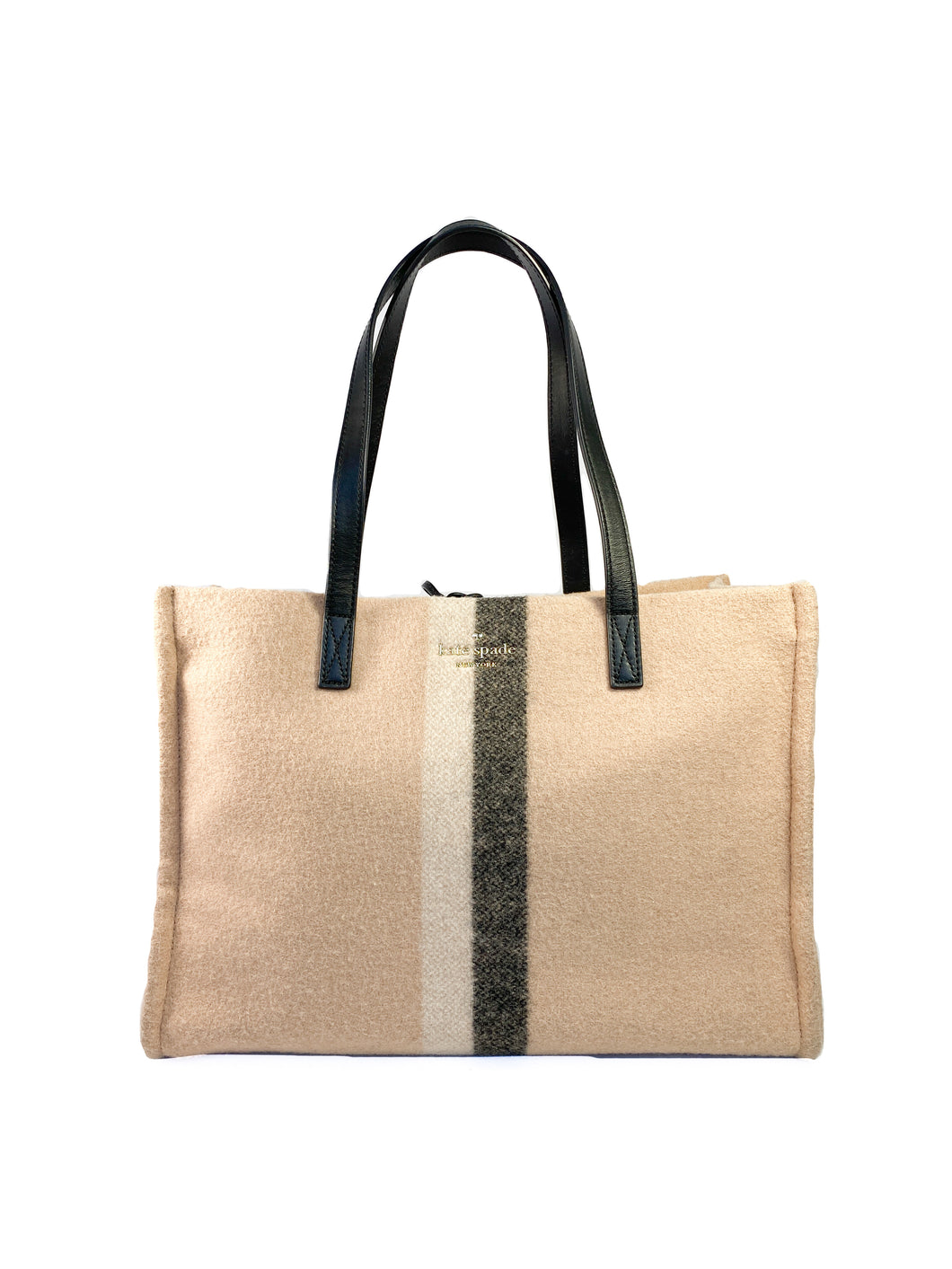 Kate Spade nude wool and leather tote
