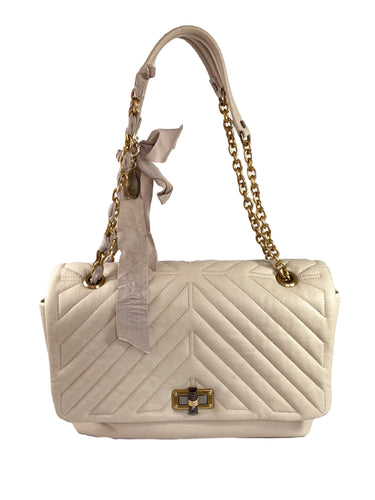Lanvin cream quilted Happy shoulder bag
