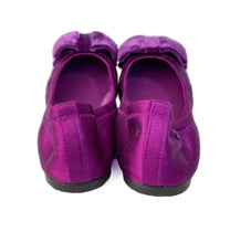 Tory Burch purple satin Viola bow flats size 6.5 - My Girlfriend's Wardrobe LLC