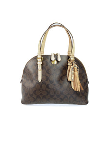 Coach brown signature coated canvas domed satchel F26184