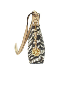 Michael Kors brown and cream zebra print crossbody