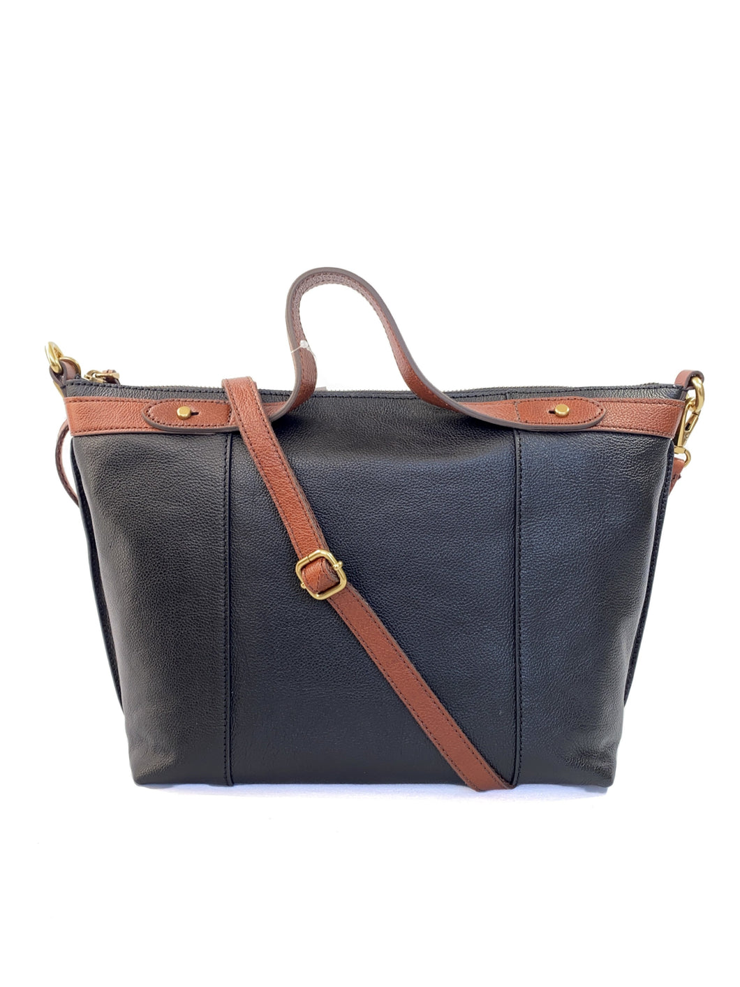 Fossil black and brown leather bag NEW - My Girlfriend's Wardrobe LLC