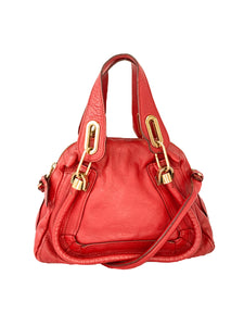 Chloé red pebbled leather small Paraty bag