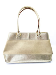 Kate Spade gold leather and linen bag - My Girlfriend's Wardrobe York Pa
