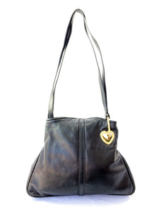 Moschino black vintage leather shoulder bag - My Girlfriend's Wardrobe York Pa