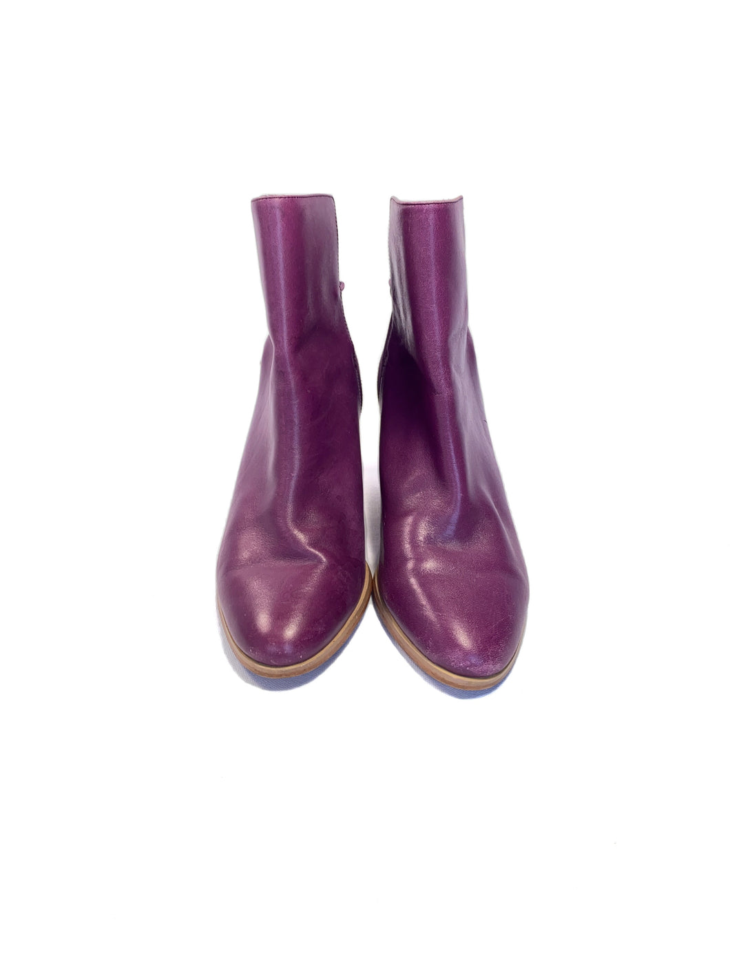 Kate Spade Saturday purple leather ankle boots size 6 - My Girlfriend's Wardrobe LLC