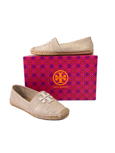 Tory Burch gold metallic natural espadrille slip ons size 7.5
