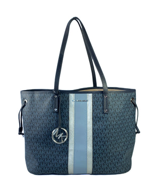 Michael Kors navy logo coated canvas leather tote