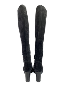 Lanvin black suede knee high boots size 42