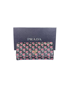 Prada black multi color vit. move love wallet NEW BOX - My Girlfriend's Wardrobe LLC