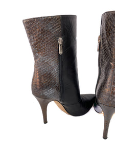 Emerson Fry black python leather boots size 37 - My Girlfriend's Wardrobe LLC