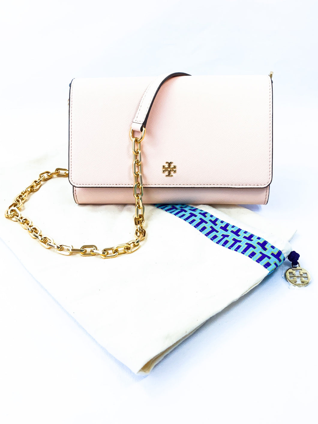Tory Burch light pink leather chain wallet - My Girlfriend's Wardrobe York Pa