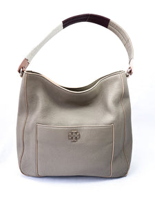 Tory Burch taupe, plum, pink and white leather shoulder bag - My Girlfriend's Wardrobe York Pa