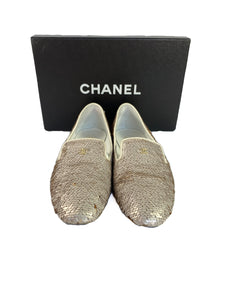 Chanel white mococo sequined loafer size 39