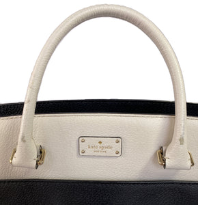 Kate Spade black and white leather satchel - My Girlfriend's Wardrobe LLC