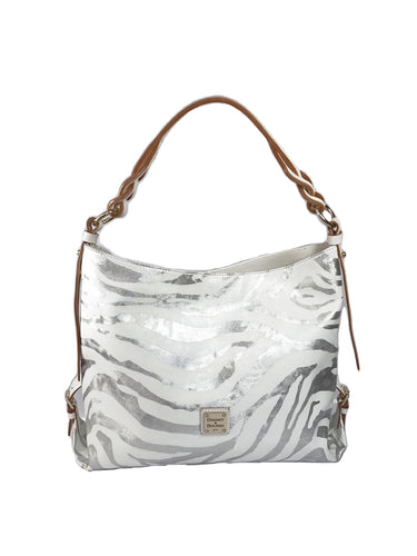 Dooney & Bourke white silver zebra print shoulder bag - My Girlfriend's Wardrobe LLC