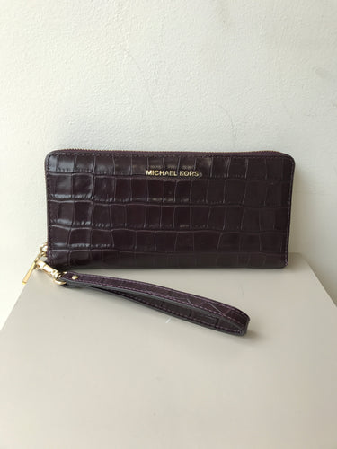 Michael Kors plum croc embossed zip around wallet/wristlet - My Girlfriend's Wardrobe
