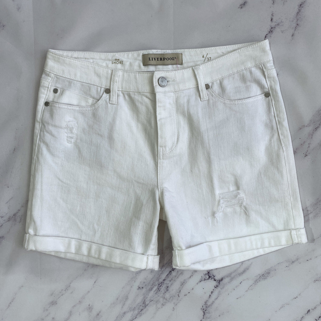 Liverpool white distressed denim shorts size 4 - My Girlfriend's Wardrobe LLC