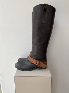 Via Roma 15 gray and brown leather tall boots size 8 NEW - My Girlfriend's Wardrobe York Pa