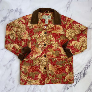LL Bean red and tan floral jacket - My Girlfriend's Wardrobe York Pa