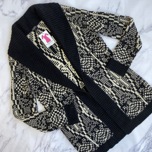 Talbots cream and black open cardigan