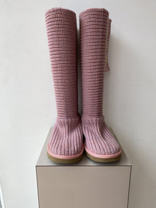 UGG pink and purple sweater knit classic cardy boots size 8