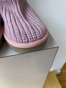 UGG pink and purple sweater knit classic cardy boots size 8 - My Girlfriend's Wardrobe York Pa