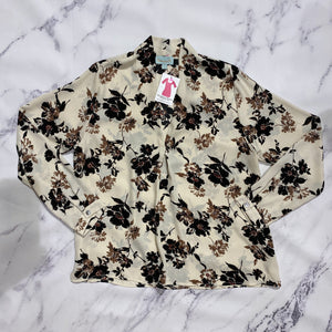 Veronica M cream and black floral top