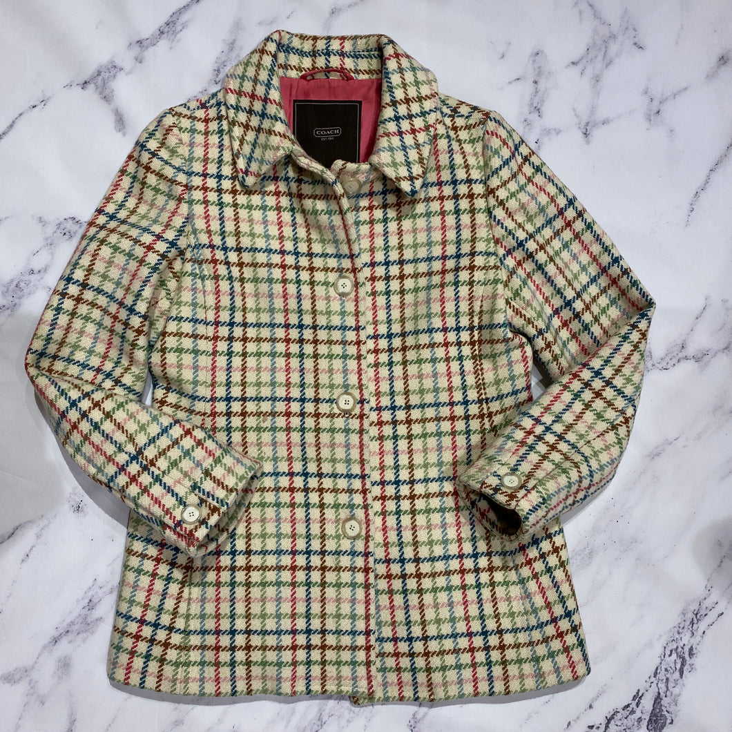 Coach multi color cream plaid jacket - My Girlfriend's Wardrobe York Pa