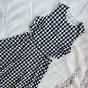 Tanya Taylor navy and white check tank dress size 10 - My Girlfriend's Wardrobe LLC