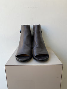 Frye Brielle gray leather peep toe boots size 9 - My Girlfriend's Wardrobe York Pa