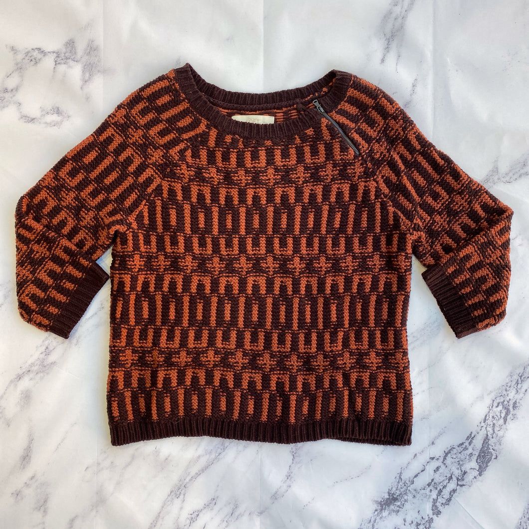 Loft orange and dark plum sweater
