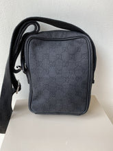 Gucci black signature cloth and leather crossbody