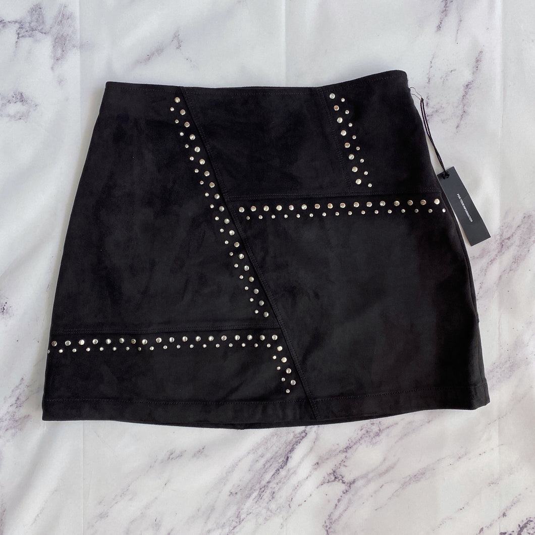 Express black faux suede studded skirt size 6 NWT - My Girlfriend's Wardrobe LLC