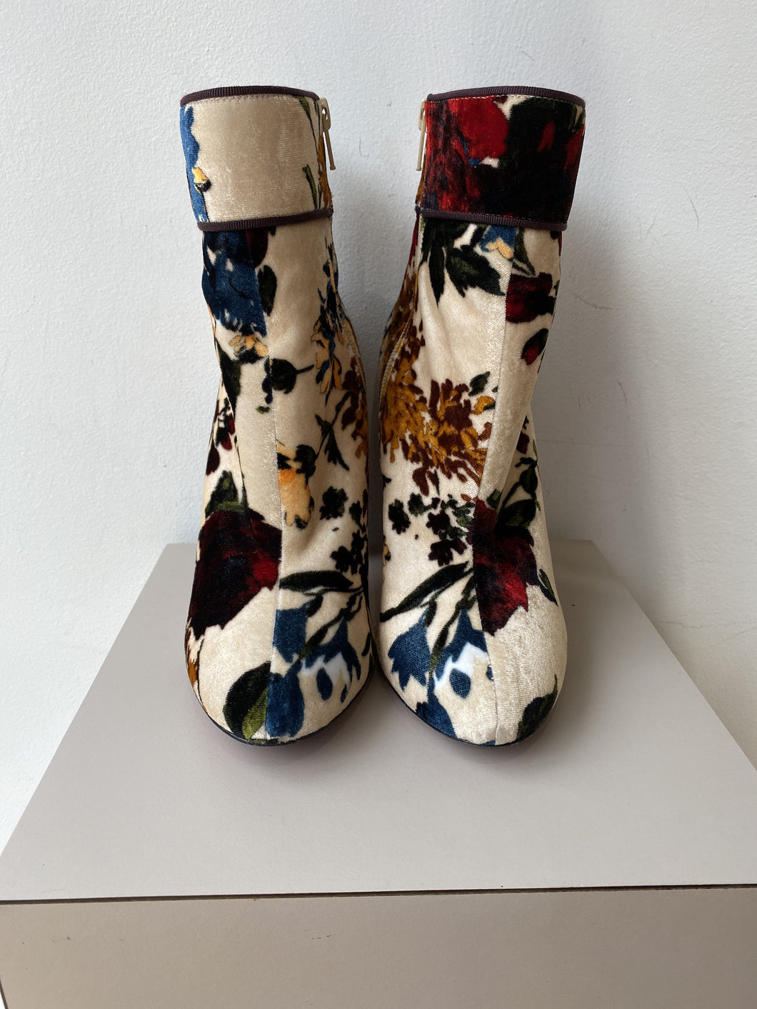 Christian Louboutin velour floral boots size 38.5 - My Girlfriend's Wardrobe York Pa