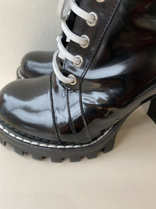 Louis Vuitton black patent star trail ankle boots size 38 - My Girlfriend's Wardrobe York Pa