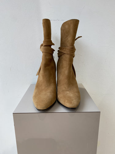 Banana Republic tan suede heeled boots size 8.5
