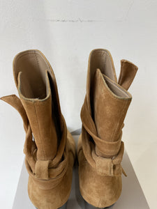 Banana Republic tan suede heeled boots size 8.5 - My Girlfriend's Wardrobe York Pa